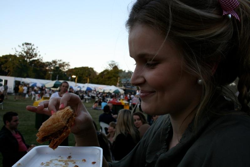 Harriet Eating Greek Food