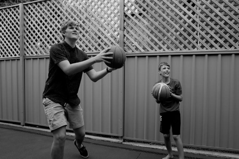 The big boys playing b-ball