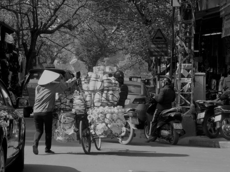 Selling crockery on a bike