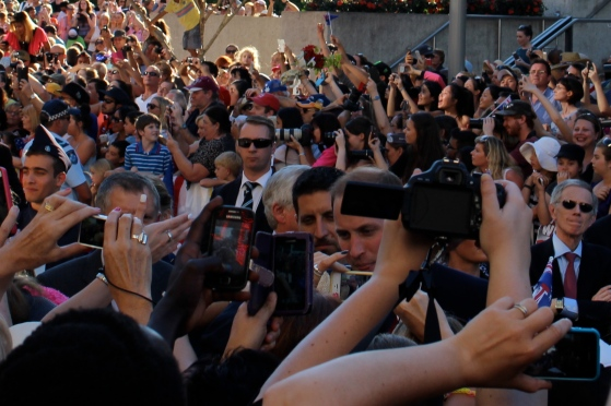 The crowds waiting for Will and Kate