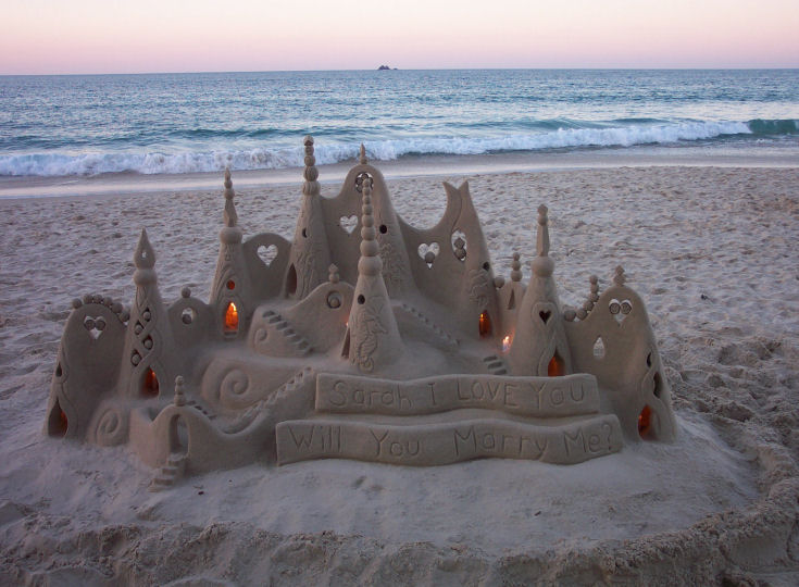 Sand sculpting a wedding proposal. Source: http://www.sandology.com/sandology.php